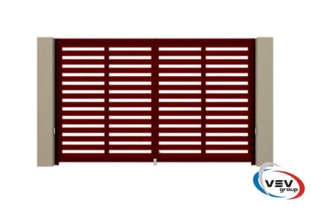 Алюминиевые распашные ворота Prestige 2875х1585 красные - фото - продукция компании ВСВ-Групп